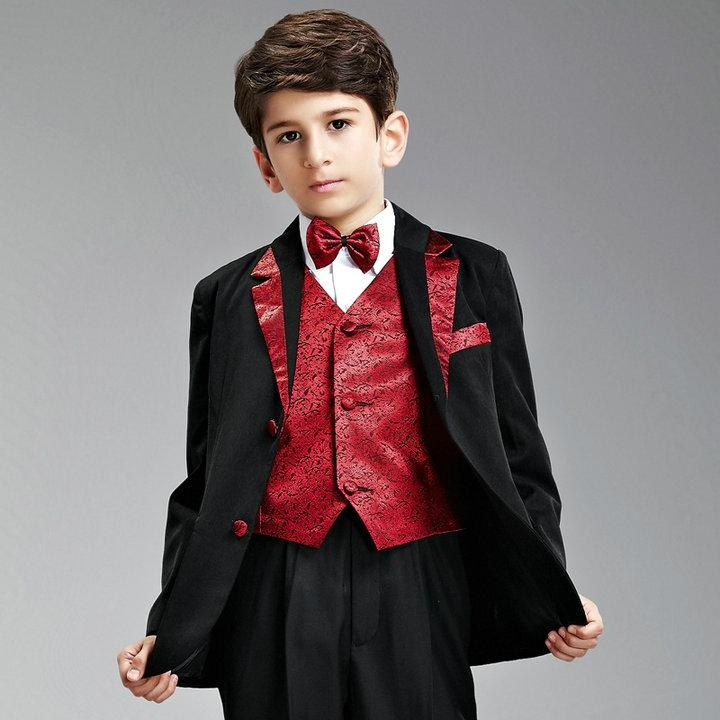 Black Red Boy Suits Formal Boy Suits For Wedding Party XZ78 - Bridal
