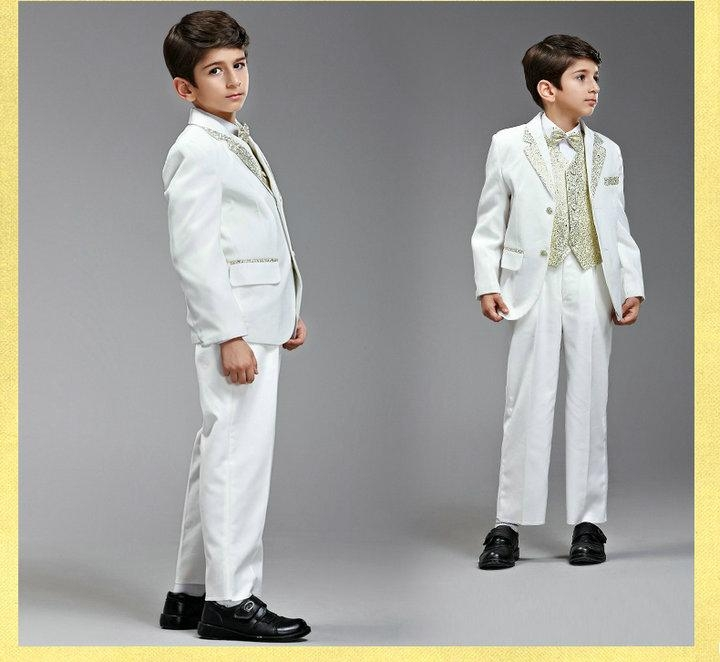 White Gold Boy Suits Formal For Wedding Party XZ57