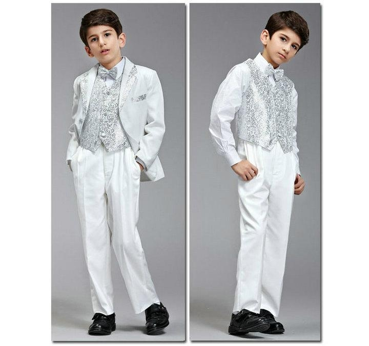 White Silver Boy Suits Formal Boy Suit XZ55 - Bridal Dresses - Ring