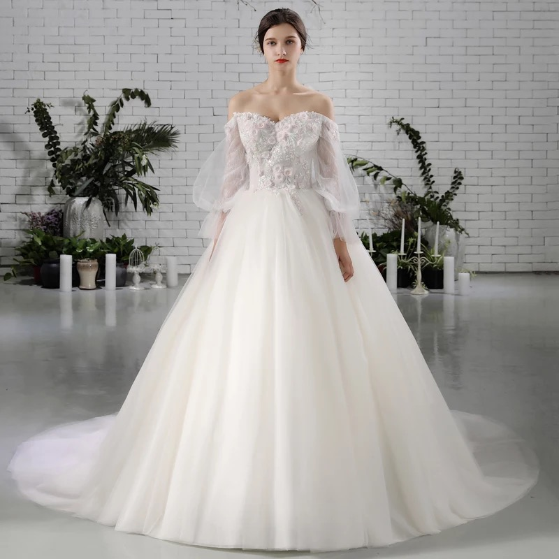 Ella Bridal Dress Real Show New Lace Beading Bridal Gown With Train