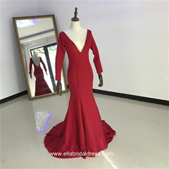 Ella Bridal Dress Sexy Red Sleeved