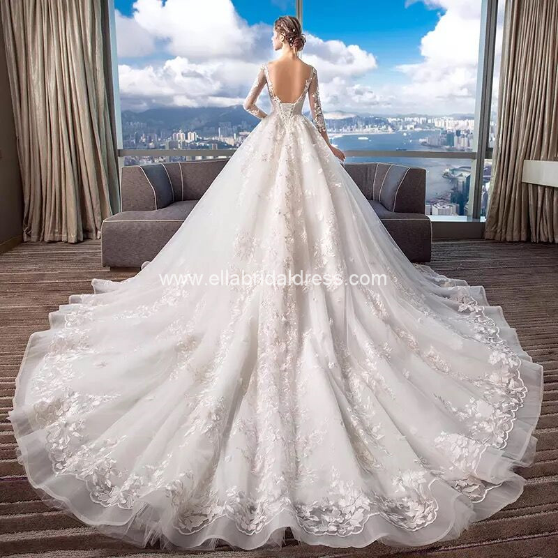 Ella Bridal Dress New Collection Sleeved Lace Gown With Long Train
