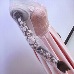 Coral Pink Sleeved Satin Lace