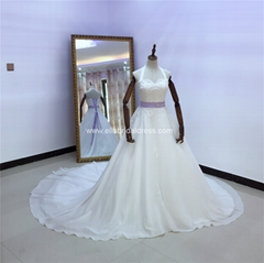 Halter Neck Satin Wedding Gown