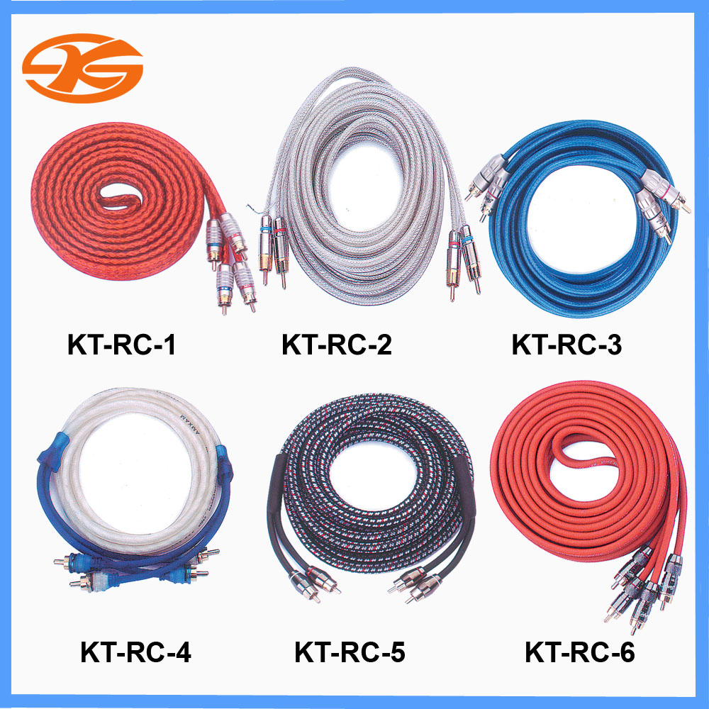 KT-RC1 to 6 Car audio RCA cable, Braided RCA cable,wire cable,High