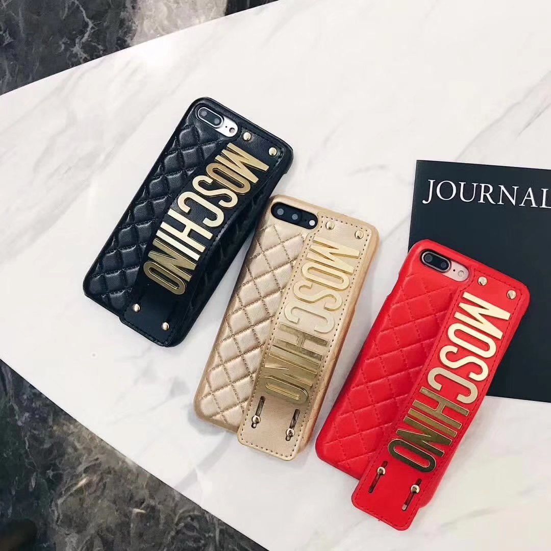 new products ab8b6 0ca0e Apple iphone X Moschino wrist strap metal logo kickstand phone case